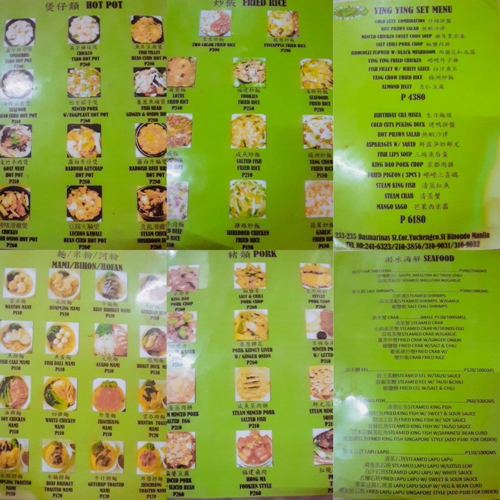 Ying Ying Tea House Menu - Chinese Restaurant Binondo