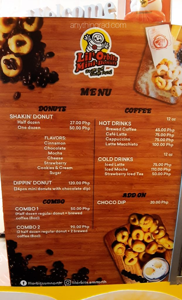 Lil Orbits Menu Donuts and Coffee